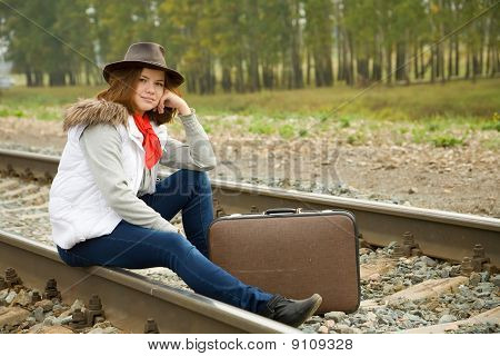 Woman On  Railway