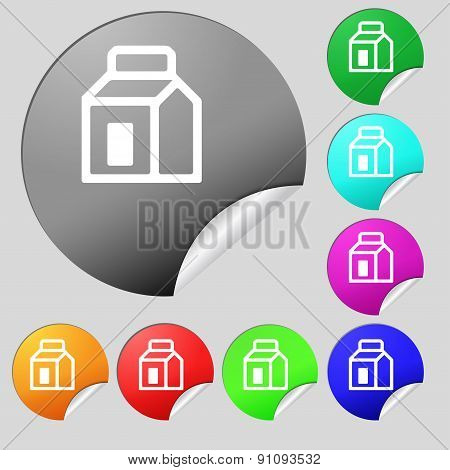 Milk, Juice, Beverages, Carton Package  Icon Sign. Set Of Eight Multi-colored Round Buttons, Sticker