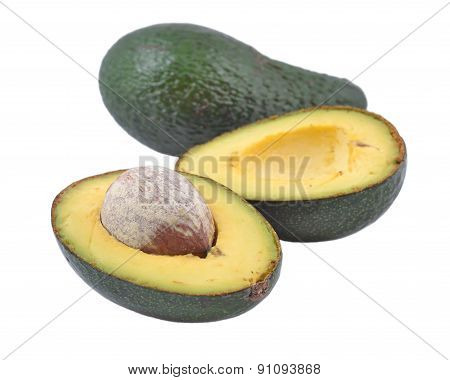 Green Avocado On A White Background