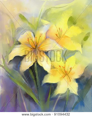 Watercolor Painting Yellow Lily Flower