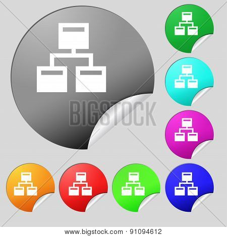 Local Network  Icon Sign. Set Of Eight Multi-colored Round Buttons, Stickers. Vector