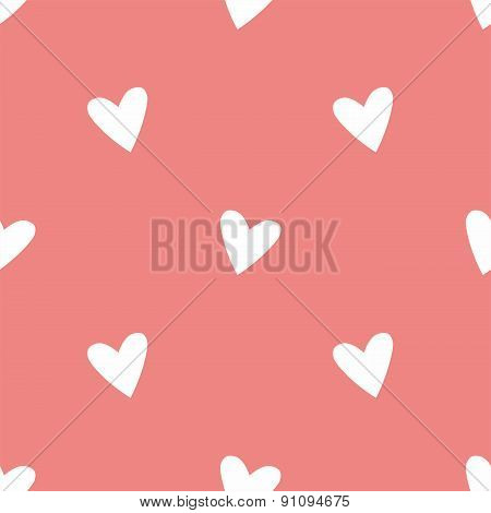 Tile cute vector pattern with white hearts on pink background