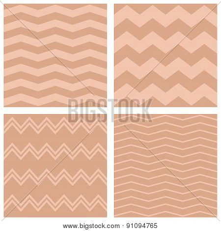 Tile vector pink and pastel brown pattern set with zig zag background