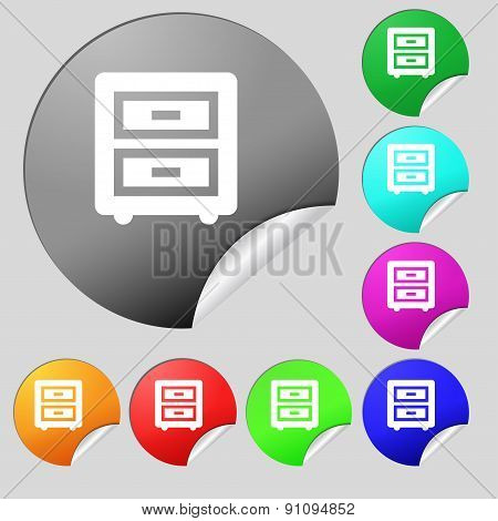 Nightstand  Icon Sign. Set Of Eight Multi-colored Round Buttons, Stickers. Vector