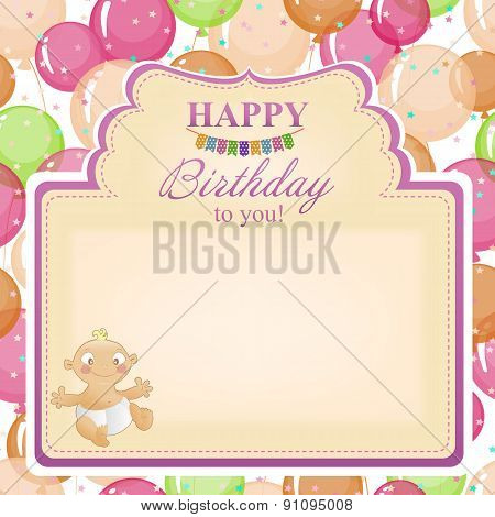 Childrens Congratulatory Background With A Birthday For Girls.