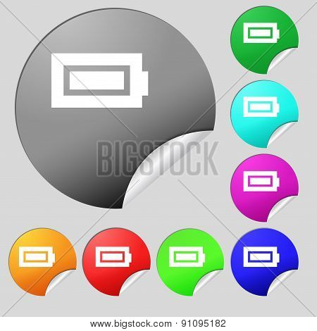 Battery Fully Charged  Icon Sign. Set Of Eight Multi-colored Round Buttons, Stickers. Vector