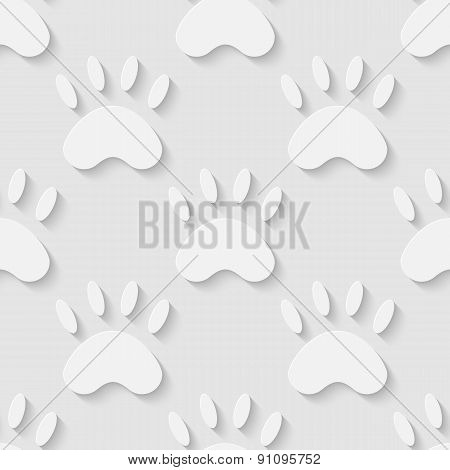 Cat paw silhouette seamless pattern