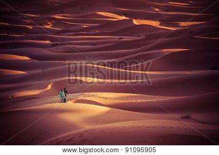 People Walking In The Dunes Of A Desert