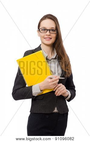 Working lady with paper isolated on white