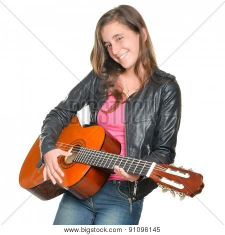 Trendy hispanic teenage girl playing an acoustic guitar isolated on white