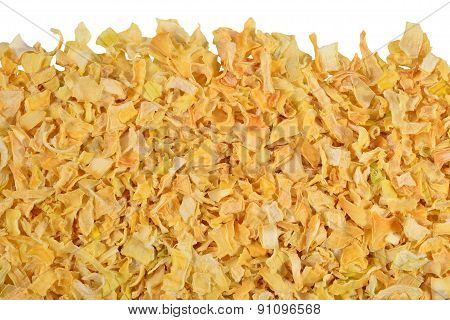 Heap Of Dried Onions On A White