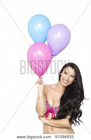 Attractive Young Smiling Brunette Holding Colorful Balloons