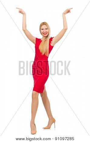 Blond woman in scarlet dress isolated on white