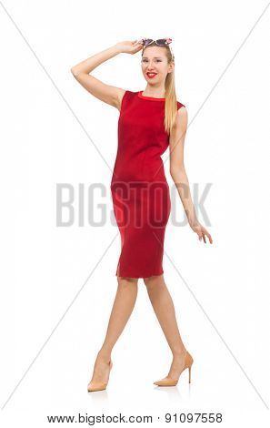 Pretty young woman in red dress isolated on white