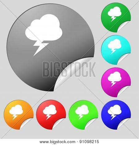 Storm  Icon Sign. Set Of Eight Multi-colored Round Buttons, Stickers. Vector