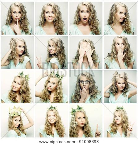Collage of portraits of a beautiful young blond woman with crown