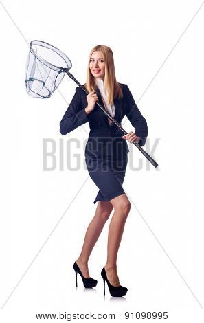 Businesswoman with catching net on white
