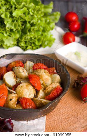 Baked potatoes, tomatoes,