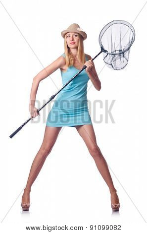 Attractive woman with net on white