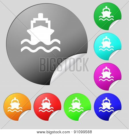 Ship Icon Sign. Set Of Eight Multi-colored Round Buttons, Stickers. Vector