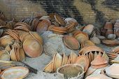 stock photo of pottery  - view of the pottery factory in Nepal - JPG
