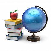 image of geography  - Apple globe books blank global geography wisdom - JPG