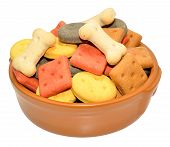 picture of biscuits  - Dog biscuit shapes in a ceramic bowl isolated on a white background - JPG