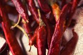 foto of chili peppers  - Red hot chili peppers on white background - JPG