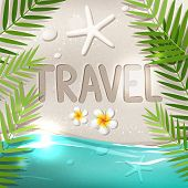 picture of frangipani  - Travel word on tropical beach summer tourism vector illustration with white sand blue sea frangipani flowers and palm tree leaves - JPG