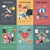 stock photo of health  - Insurance mini poster set with travel property old people health protection isolated vector illustration - JPG
