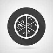 picture of microorganisms  - Flat round black vector icon with white contour laboratory dish with microorganism colonies on gray background - JPG