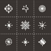 stock photo of wind-rose  - Vector Wind rose icon set on black background - JPG