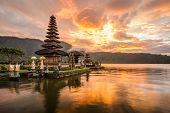 stock photo of hindu  - Pura Ulun Danu Bratan Hindu temple on Bratan lake Bali Indonesia - JPG