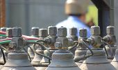 picture of oxygen  - Acetylen and oxygen bottles used for welding at a construction site - JPG