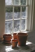 stock photo of flower pot  - side lit photo of flower pots in an old gardening shed - JPG