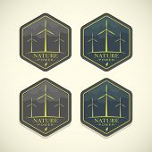 foto of turbines  - Vector eco icons of wind turbines - JPG