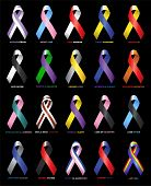 stock photo of breast-stroke  - Coloured Ribbons supporting causes and victims of illness and tragedy - JPG