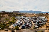 picture of scrap-iron  - Scrap Yard With Pile Of Crushed Cars in tenerife canary islands spain - JPG