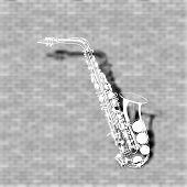 stock photo of saxophones  - vector illustration saxophone on a brick wall background - JPG