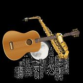 image of saxophones  - Vector illustration guitar and saxophone on the background of city lights - JPG