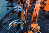 stock photo of hydraulics  - Hydraulic hose fittings Use on farm Machinery - JPG