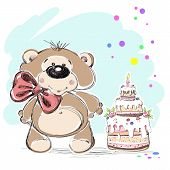 stock photo of cute bears  - Cute teddy bear with a cake smiling at the festival - JPG