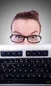 pic of nerd  - Nerd businessman with computer keyboard on white - JPG