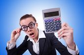 picture of nerd  - Nerd female accountant with calculator - JPG