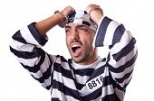 pic of inmate  - Prison inmate isolated on the white - JPG