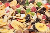 picture of dry fruit  - pile of dried fruit as part of the food - JPG