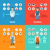 stock photo of policeman  - Profession design concept set with doctor policeman painter cook avatars isolated vector illustration - JPG