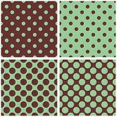 pic of mint-green  - Tile mint green and brown vector pattern set with polka dots for seamless decoration wallpaper - JPG