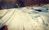 pic of snowy-road  - snowy road in the darkness in mountains - JPG