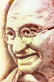 image of gandhi  - Closeup macro view of Mahatma Gandhi on an Indian currency note - JPG